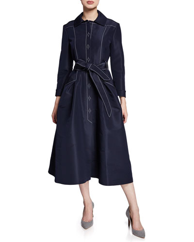 A-Line Belted Silk Faille Gown