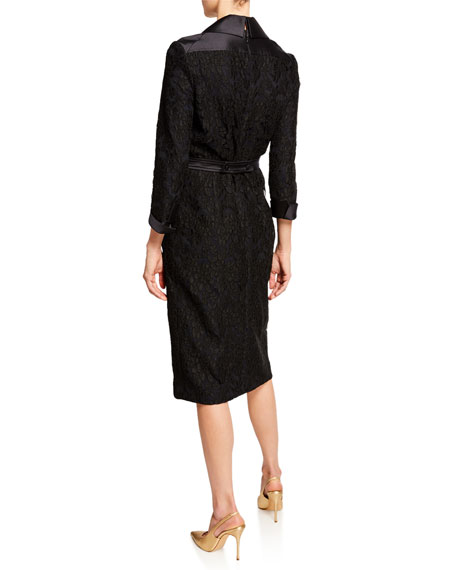 Corded Lace Belted Trench Dress