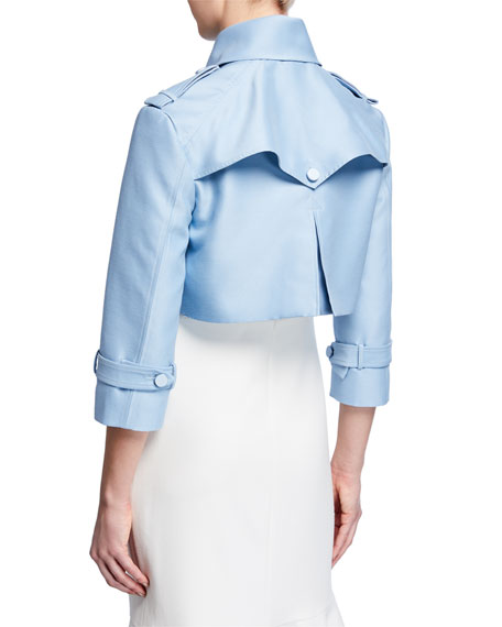 3/4-Sleeve Silk-Wool Cropped Jacket