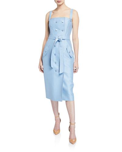 Sleeveless Square-Neck Tie-Waist Dress