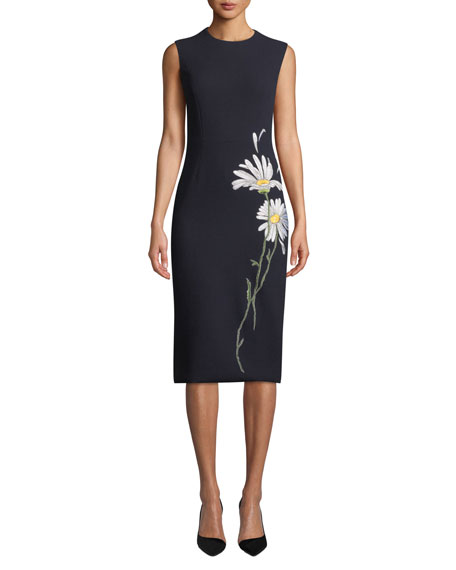 Sleeveless Daisy-Embroidered Midi Dress