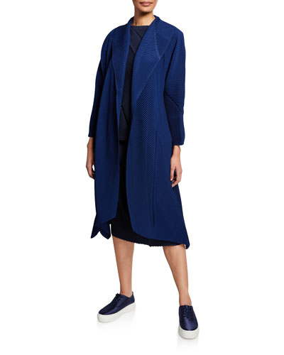 Pistil Pleats Open-Front Coat