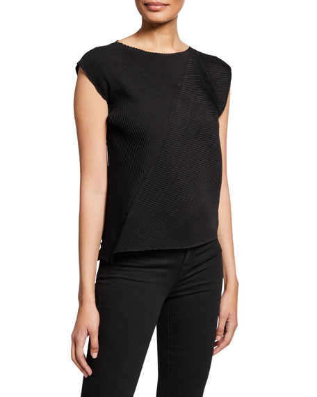 Pistil Pleats Cap-Sleeve Top