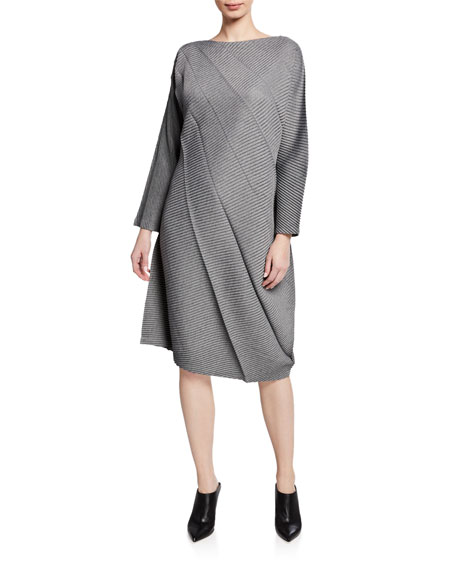 Swell Pleats Long-Sleeve Dress