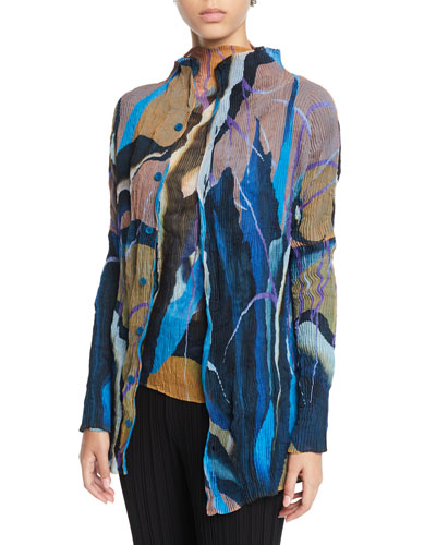 Bloom Pleated Chiffon Twisted Button Front Cardigan
