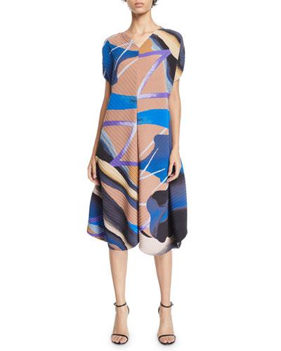 Bloom Short-Sleeve Pleated Midi Dress