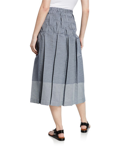 Smocked Pleated Stretch Midi Skirt