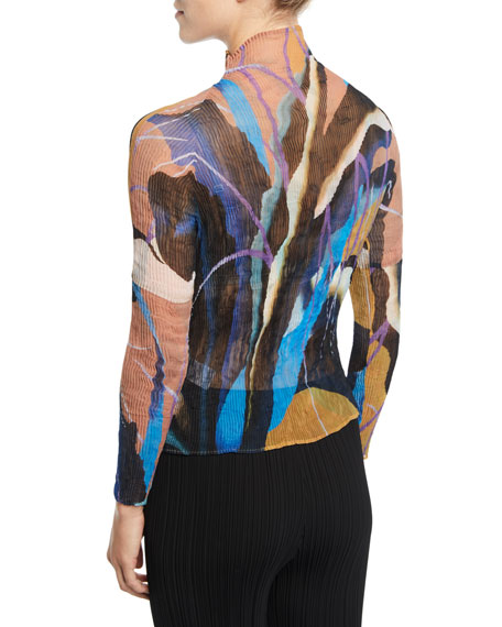 Bloom Abstract-Print Mock-Neck Pleated Chiffon Blouse