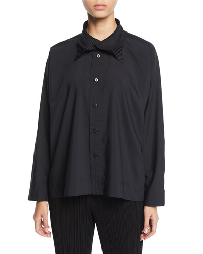 Pleated Collar Button-Front Shirt