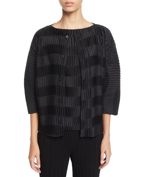 Wavy-Striped Pleated Short-Sleeve Cardigan