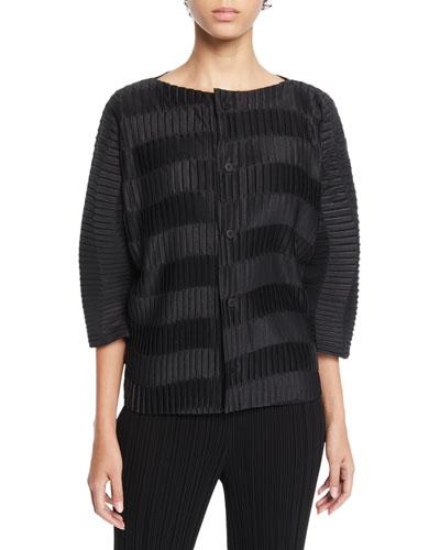 Wavy-Striped Pleated Short-Sleeve Cardigan