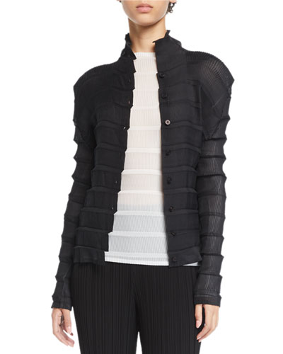 Button-Front Pleated Stair Cardigan