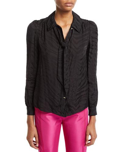 Tie-Neck Zebra Jacquard Button-Front Blouse