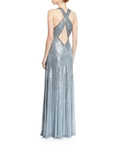 Crisscross-Back Metallic V-Neck Gown