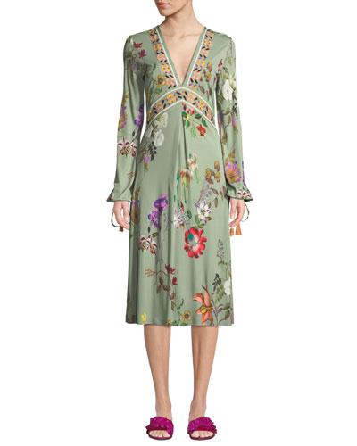 V-Neck Floral-Print Tie-Sleeve Midi Dress
