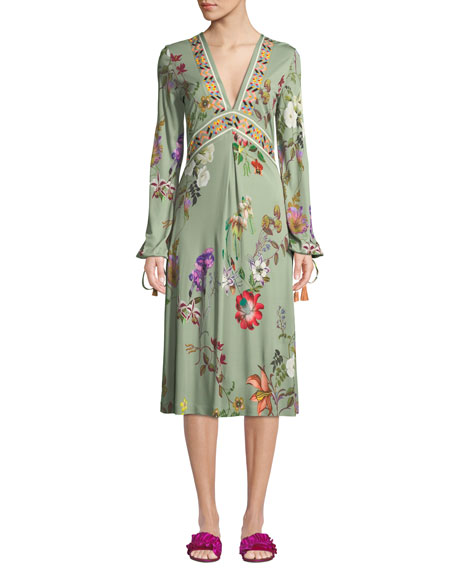 Etro V-Neck Floral-Print Tie-Sleeve Midi Dress