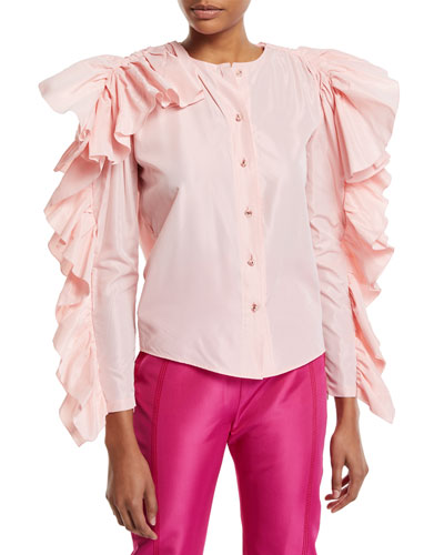 Dramatic Ruffled-Sleeve Button-Front Blouse