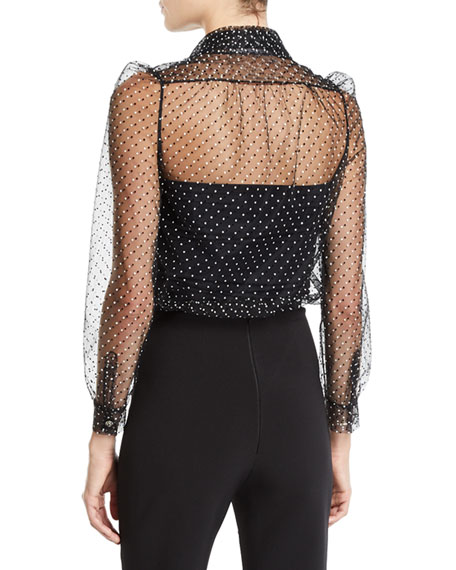 Polka-Dotted Tulle Button-Front Blouse