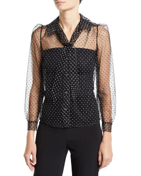 Carmen March Polka-Dotted Tulle Button-Front Blouse