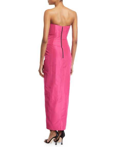 Bowed Strapless Taffeta Gown
