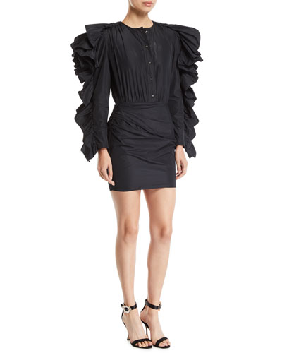 Dramatic Ruffle-Sleeve Taffeta Mini Shirtdress
