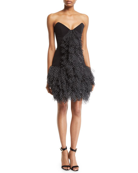 Ruffled Tulle-Front Strapless Cocktail Dress