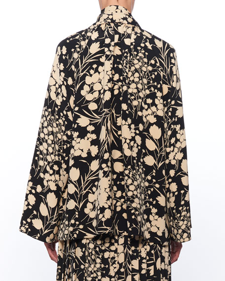 Merrian Mock-Neck Floral-Print Pleated Silk Top