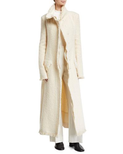 Patona Long Fringe-Trimmed Tweed Coat