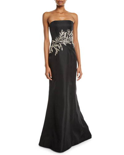 Crystal-Embellished Strapless Gown