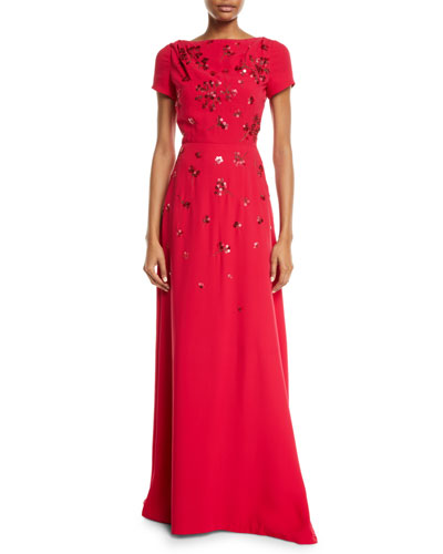 Short-Sleeve Floral-Sequined Gown