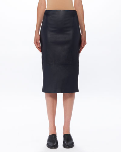 Jaston Lambskin-Leather Midi Skirt