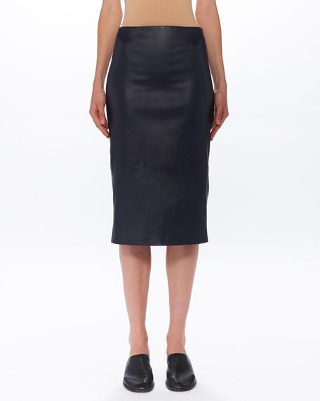 THE ROW Jaston Lambskin-Leather Midi Skirt