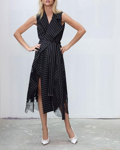Sleeveless Pinstriped Lace-Hem Belted Wrap Dress