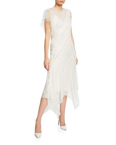 Lace-Trimmed Silk Chiffon Midi Dress