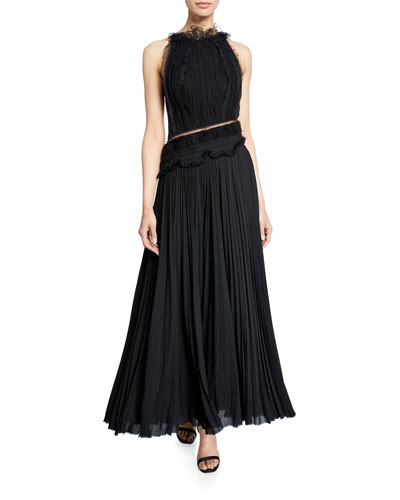 Lace-Trimmed Pleated Georgette Maxi Dress