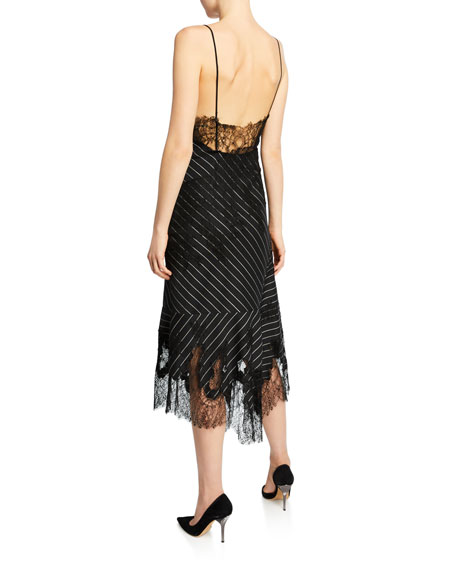 Lacy Pinstriped Strappy Cocktail Dress