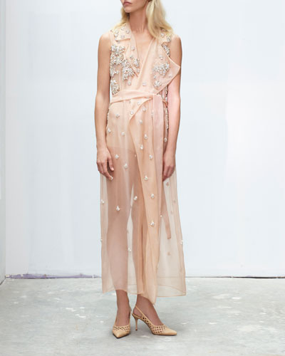 Crystal-Embellished Organza Wrap Dress
