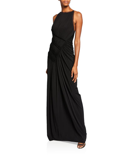 High-Neck Backless Gathered Fluid Jersey Gown