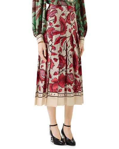 Alsacienne Floral-Print Silk Midi Skirt
