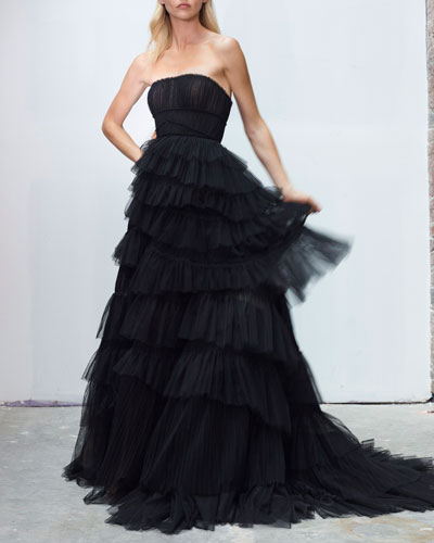 Strapless Tiered-Tulle Pleated Gown
