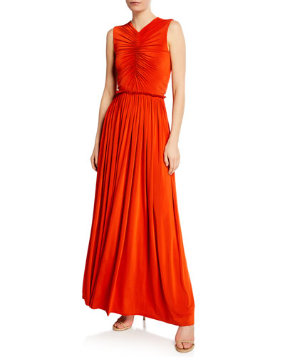 Cinched Fluid Jersey Cutout Gown