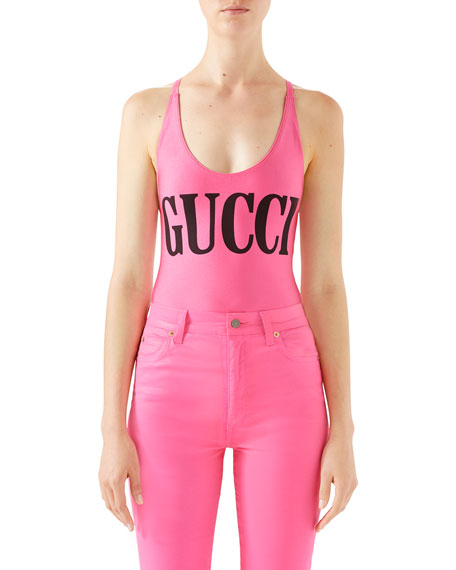 3ffb4b63aa Gucci Shimmer Logo One-Piece Swimsuit