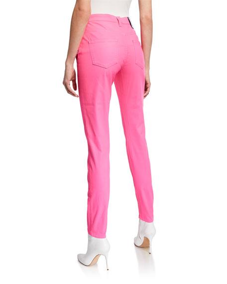 Dyed Denim Skinny Jeans, Bright Pink