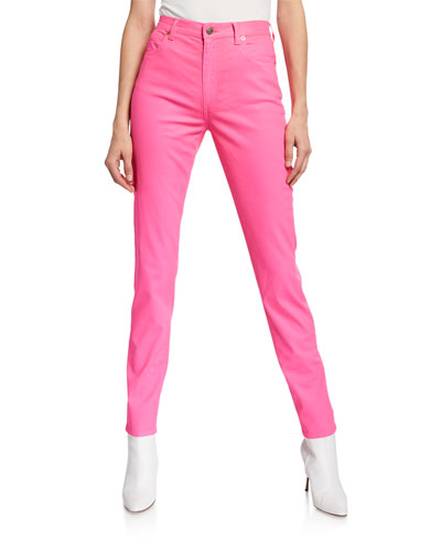 Dyed Denim Skinny Jeans  Bright Pink