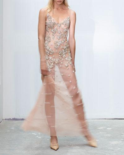 Crystal-Embellished Sheer Slip Gown