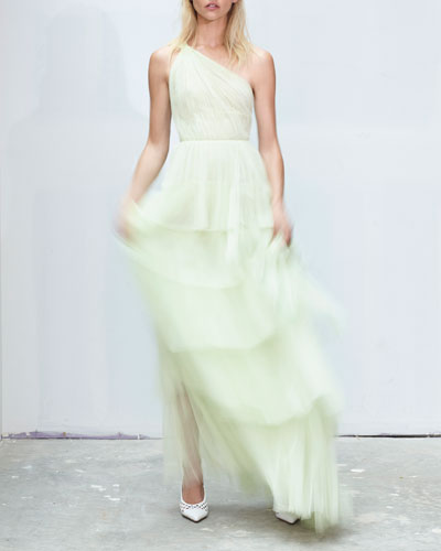 One-Shoulder Gathered-Tulle Tiered Gown