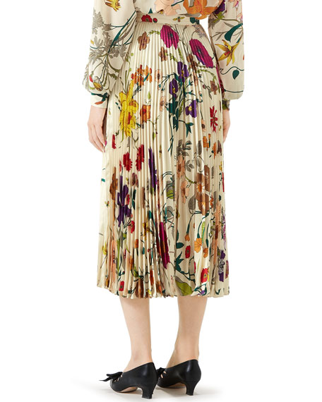 d2103ff87f Gucci Flora Gothic Pleated Silk Skirt