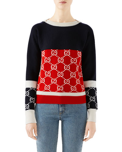 Colorblock Logo Jacquard Sweater
