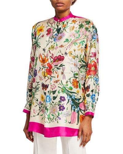 Oversized Flora Foulard Twill Shirt Quick Look. Gucci 53251a1b34b