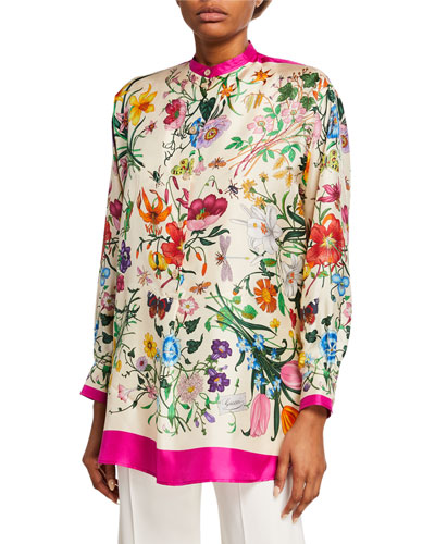 Oversized Flora Foulard Twill Shirt